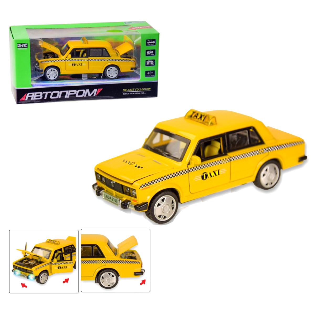 """Машинка ВАЗ 2106 Такси из серии Автопром купить в магазине """"Пустун"""""""