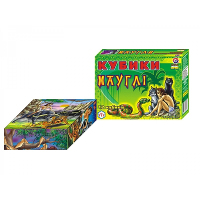 """Кубики Сказки Маугли 12 штук купить в магазине """"Пустун"""""""
