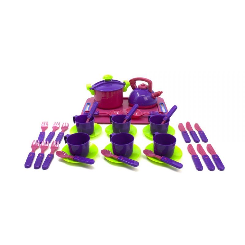 """Посуда , 36 предметов, с подносом  розовый. KW-04-424 купить в магазине """"Пустун"""""""