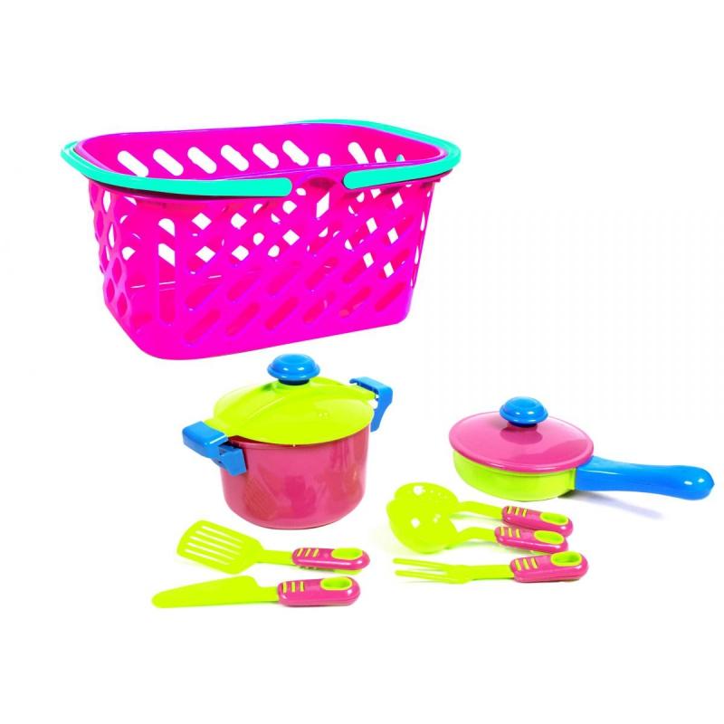 """Набор посуды в корзинке (розовый), 7 шт KW-04-435 купить в магазине """"Пустун"""""""