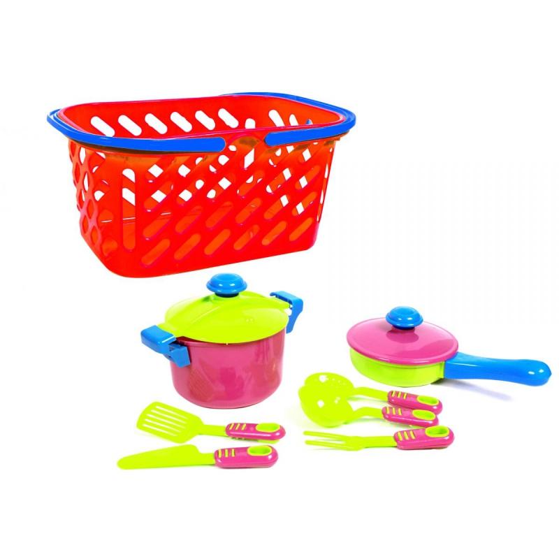 """Набор посуды в корзинке (красный), 7 шт KW-04-435 купить в магазине """"Пустун"""""""