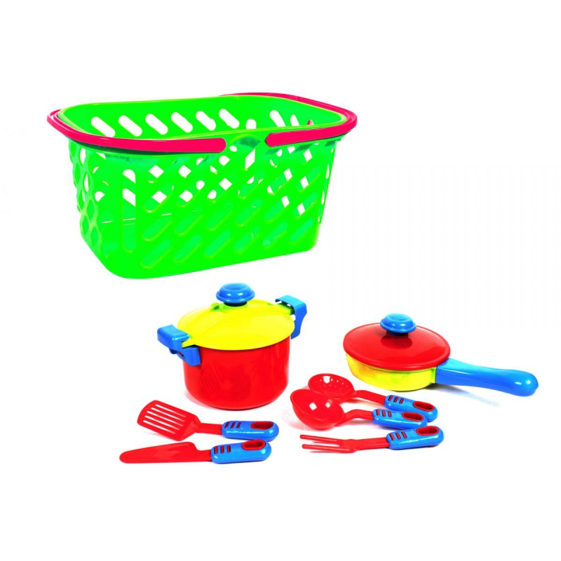 """Набор посуды в корзинке (салатовый), 7 шт KW-04-435 купить в магазине """"Пустун"""""""