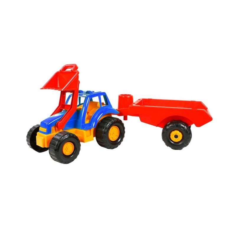 """Машинка Трактор с прицепом (синяя) купить в магазине """"Пустун"""""""