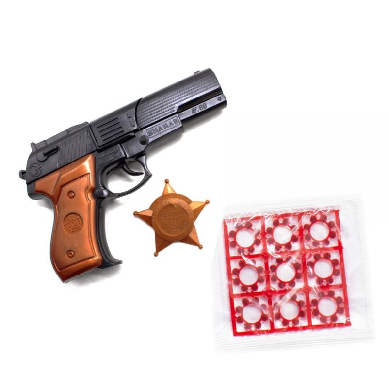 """Пистолет Shahab с пистонами и звездой шерифа купить в магазине """"Пустун"""""""