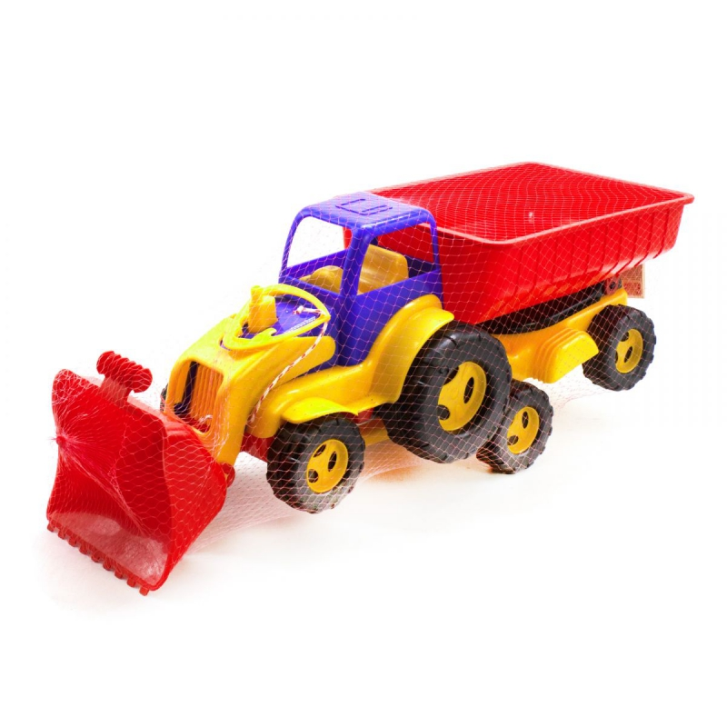 """Трактор с ковшом и прицепом (сине-красный) купить в магазине """"Пустун"""""""