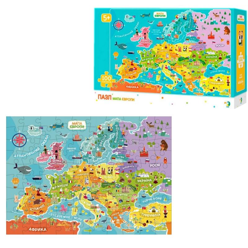 """Пазлы """"Карта Эвропы"""", 100 элементов 300129 купить в магазине """"Пустун"""""""