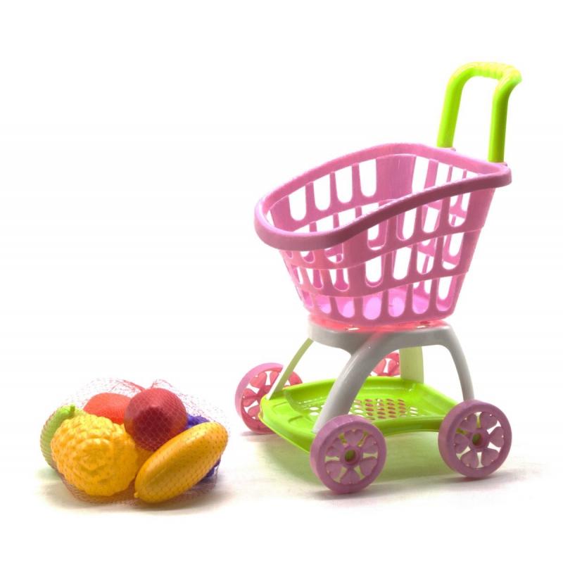 """Тележка покупателя с продуктами розовый KW-36-006-1 купить в магазине """"Пустун"""""""