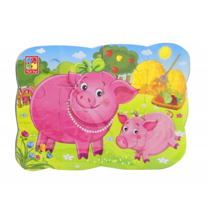 """Магнитные пазлы Свинка и поросенок, 12 деталей (укр) купить в магазине """"Пустун"""""""