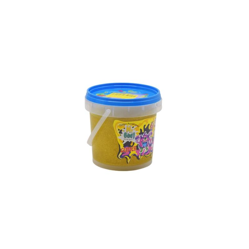 """Лизун антистресс Mr Boo с глиттером 500 г желтый купить в магазине """"Пустун"""""""