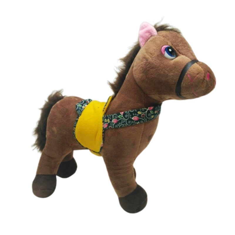 """Мягкая музыкальная игрушка Лошадка, средняя (коричневая) купить в магазине """"Пустун"""""""