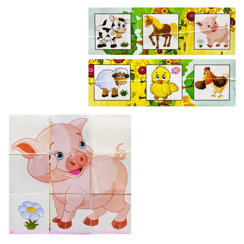 """Кубики Собери картинку Домашние животные купить в магазине """"Пустун"""""""