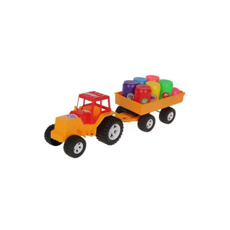 """Трактор с прицепом и бочонками (оранжевый) купить в магазине """"Пустун"""""""