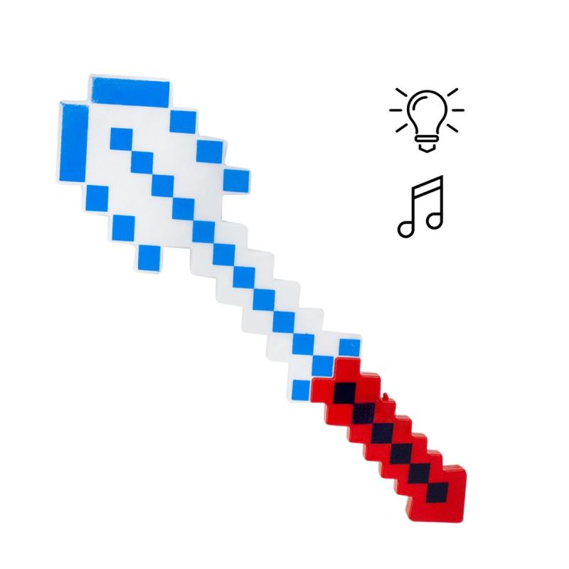 """Алмазная лопата Майнкрафт свет, звук (красно-белая) купить в магазине """"Пустун"""""""