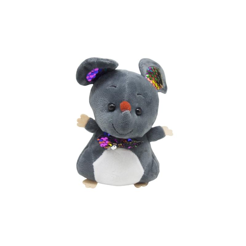 """Мягкая игрушка Мышка с галстуком тёмно серая купить в магазине """"Пустун"""""""