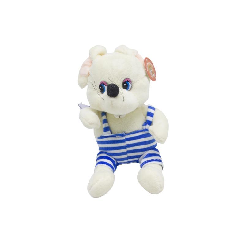 """Мягкая игрушка Мышка в полосатом белая купить в магазине """"Пустун"""""""