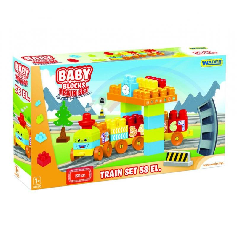 """Железная дорога WADER Мои первые кубики Baby Blocks 2,24м, 58 деталей (41470) купить в магазине """"Пустун"""""""