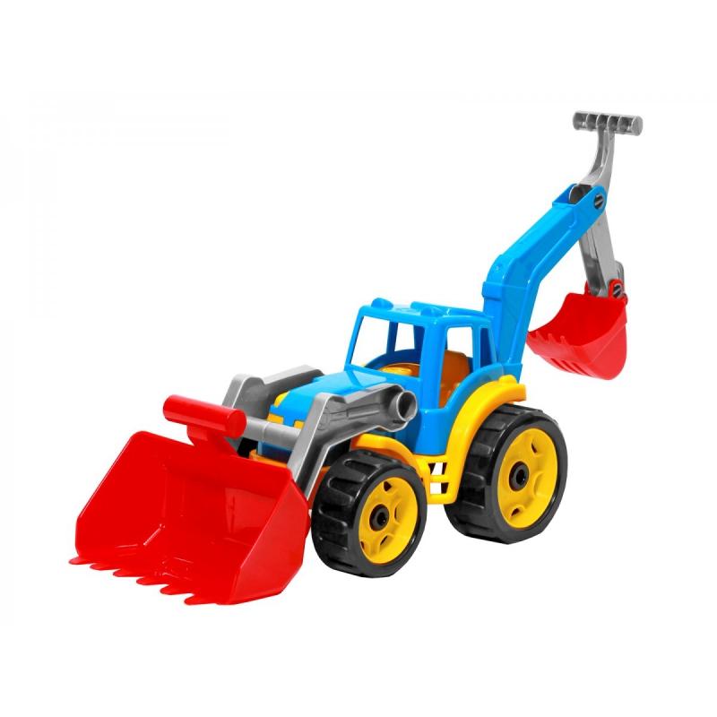 """Трактор с двумя ковшами ТехноК (голубой) купить в магазине """"Пустун"""""""