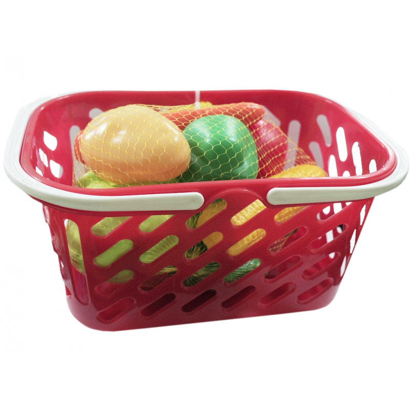 """Корзинка красная с овощами, 11 предметов KW-04-454 купить в магазине """"Пустун"""""""