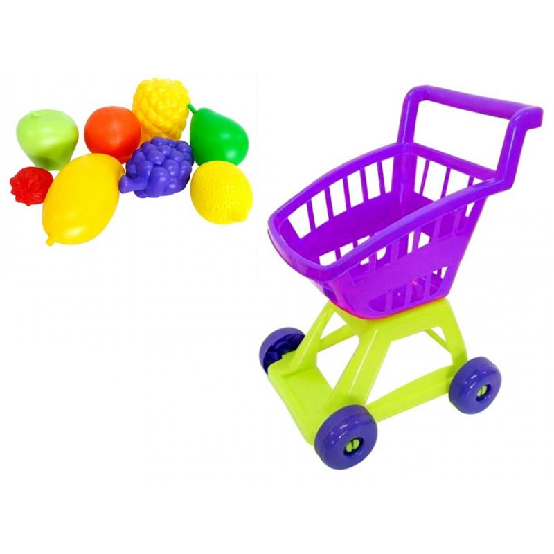 """Тележка покупателя с фруктами фиолетовый KW-36-002 купить в магазине """"Пустун"""""""