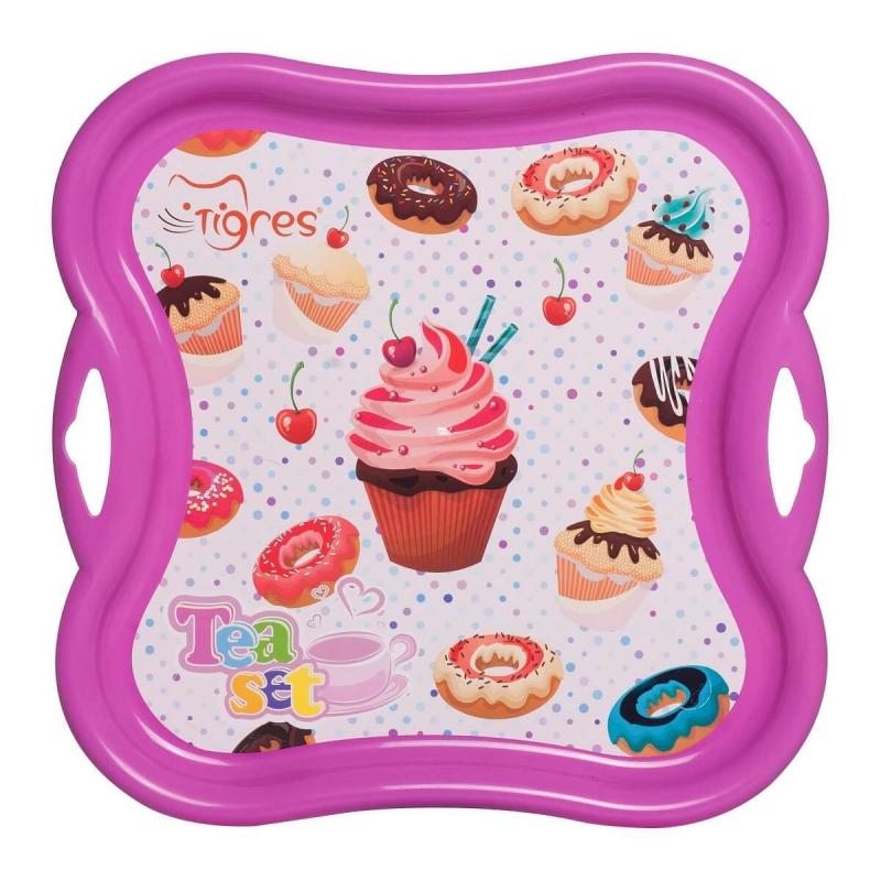 """Поднос для посуды TIGRES Сладкая вечеринка (Розовый) (39414) купить в магазине """"Пустун"""""""