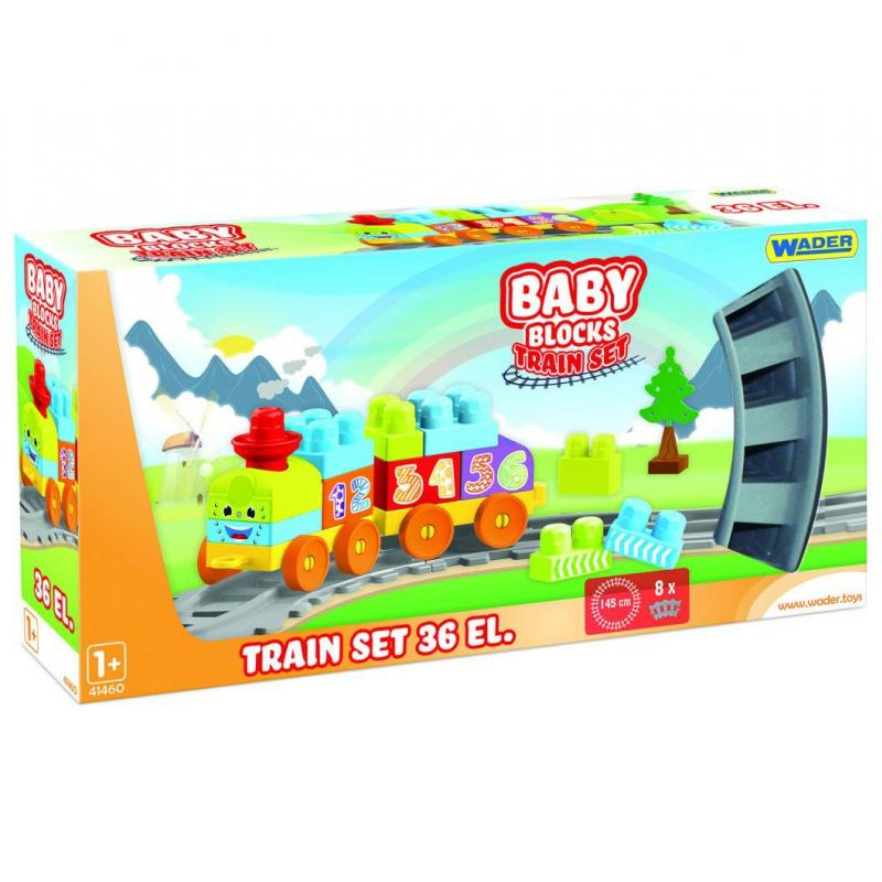 """Мои первые кубики WADER Baby Blocks Железная дорога 1,45м 36 деталей (41460) купить в магазине """"Пустун"""""""