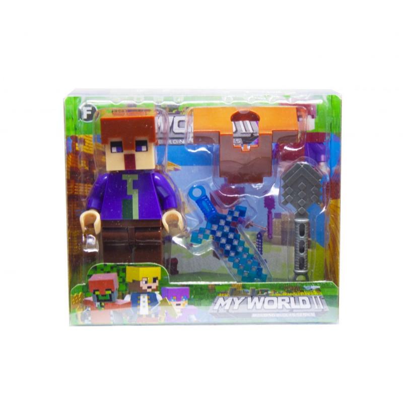 """Конструктор фигурка My World Minecraft (фиолетовый) купить в магазине """"Пустун"""""""