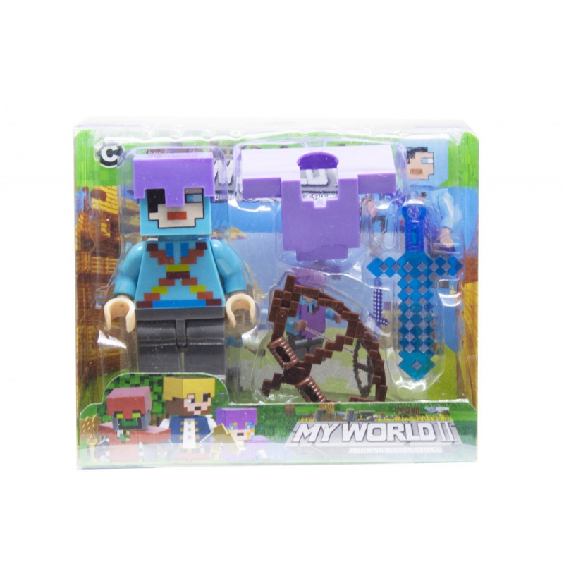 """Конструктор фигурка My World Minecraft (голубой) купить в магазине """"Пустун"""""""