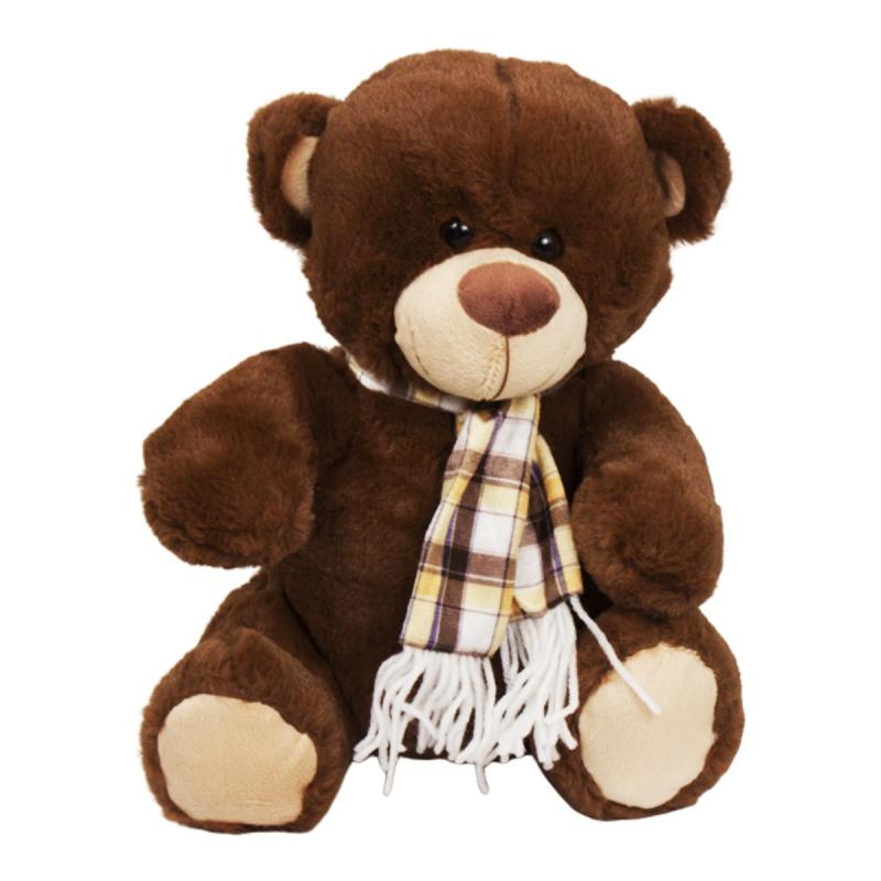 """Мягкая игрушка Медведь в шарфе, 30 см (коричневый) купить в магазине """"Пустун"""""""