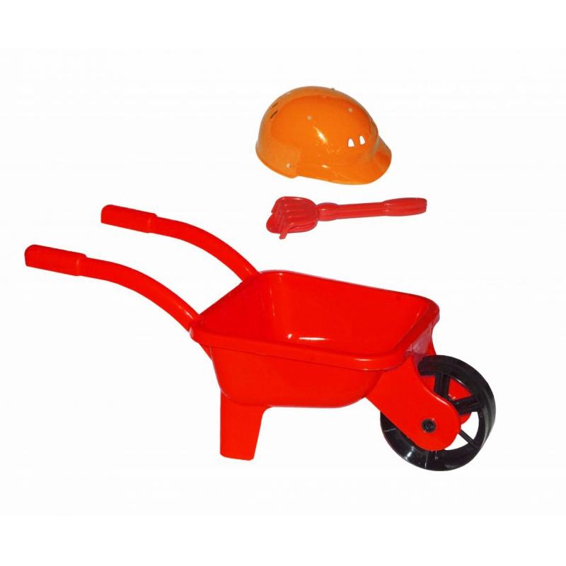 """Тачка с каской и песочным набором  (красная) KW-01-125 купить в магазине """"Пустун"""""""