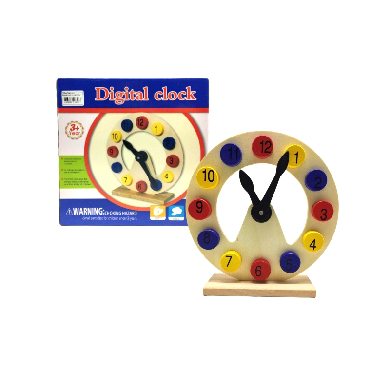"""Деревянная игрушка """"Часы"""", на подставке Р03уа купить в магазине """"Пустун"""""""