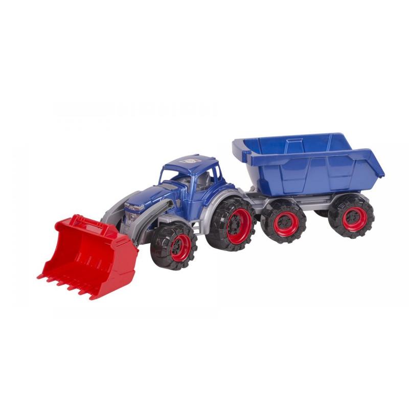"""Трактор Texas погрузчик с прицепом (синий) купить в магазине """"Пустун"""""""