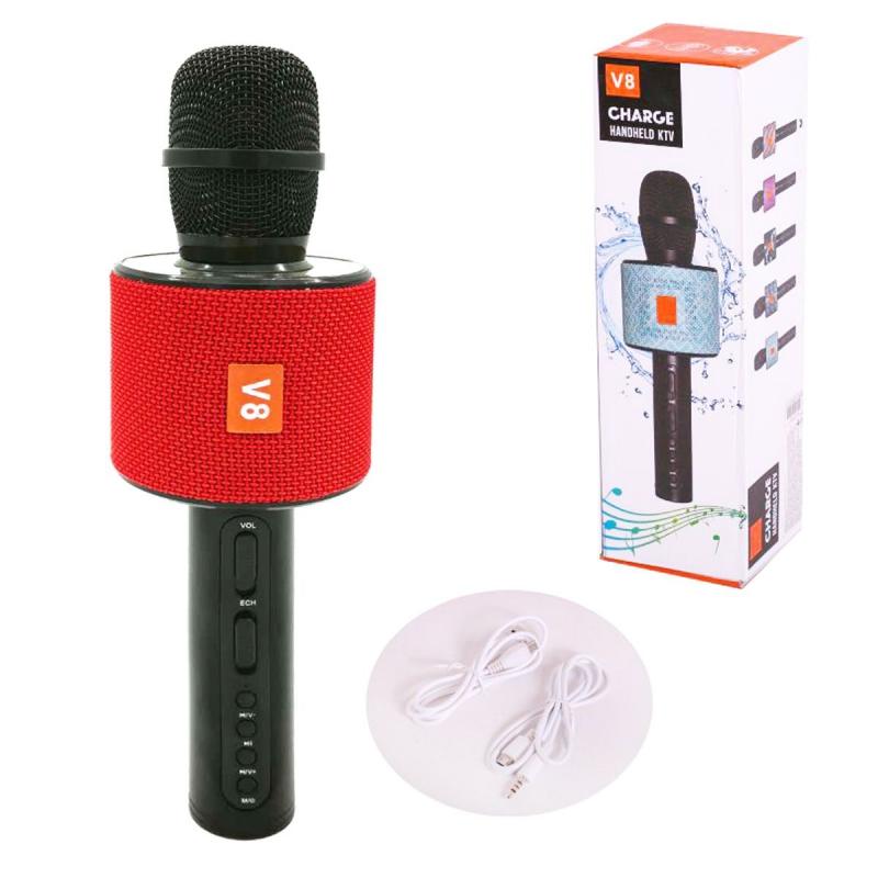 """Беспроводной караоке микрофон CHARGE V8 с Bluetooth (красный) купить в магазине """"Пустун"""""""
