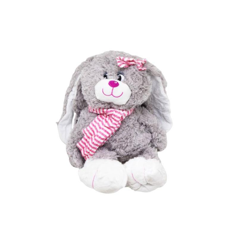 """Мягкая игрушка Заяц в шарфике (розовый) купить в магазине """"Пустун"""""""