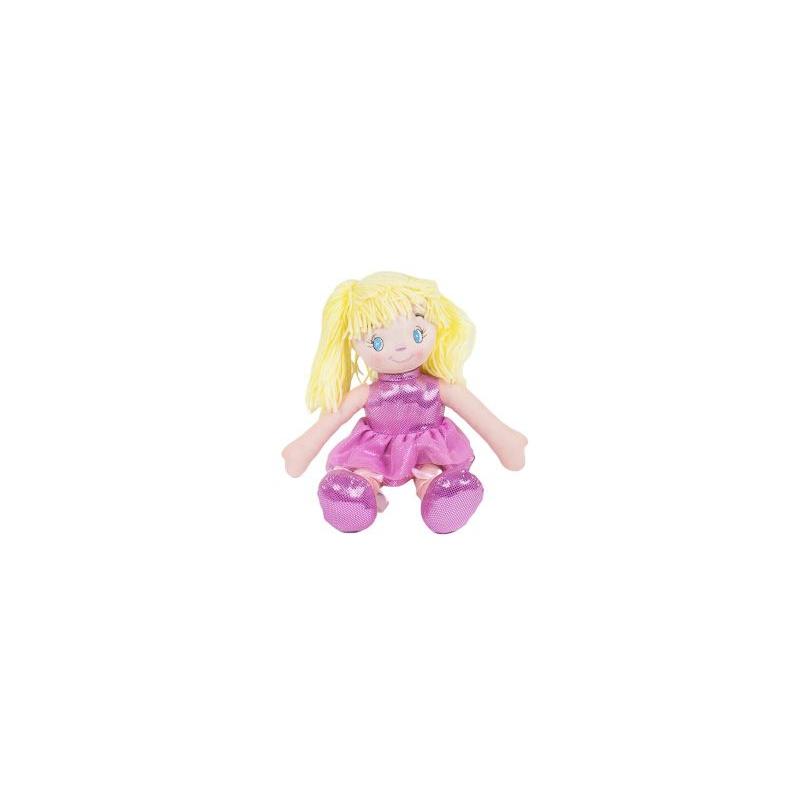 """Кукла мягкая с желтыми волосами (розовый) купить в магазине """"Пустун"""""""