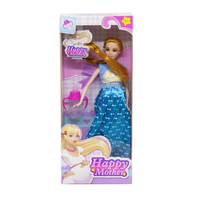 """Кукла Счастливая мама платье с бантиками синее купить в магазине """"Пустун"""""""