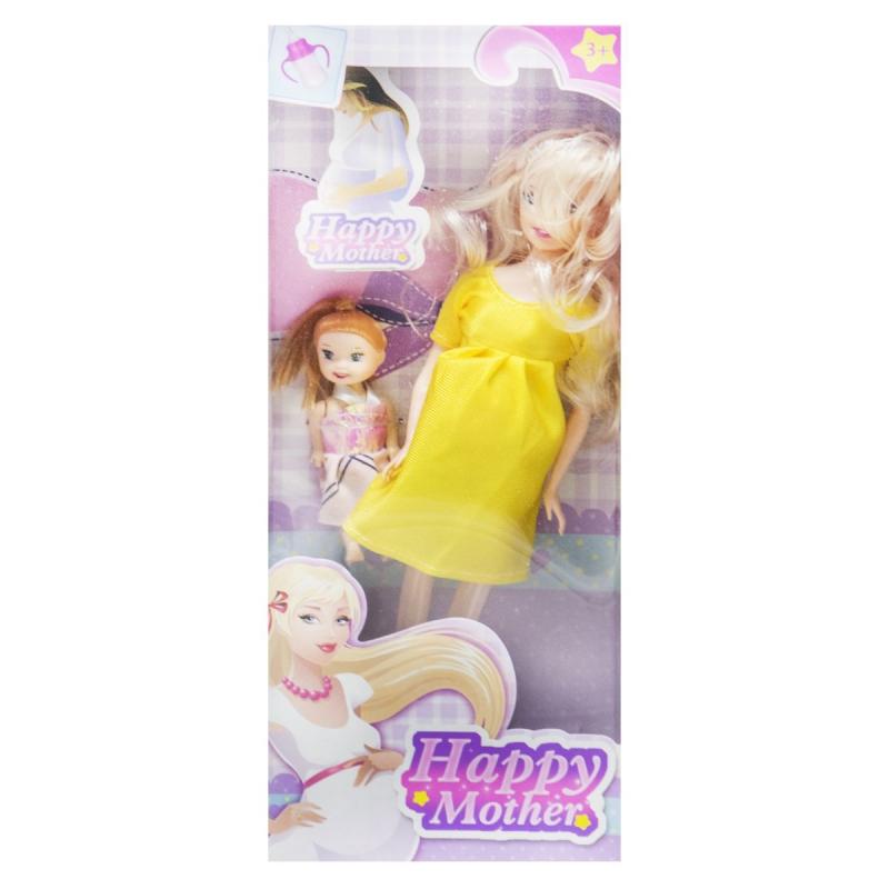"""Кукла беременная """"Happy Mother"""" с ребёнком (лимонный) 858A1 купить в магазине """"Пустун"""""""