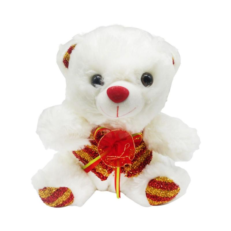 """Медвеженок с бантиком Музыкальный белый купить в магазине """"Пустун"""""""