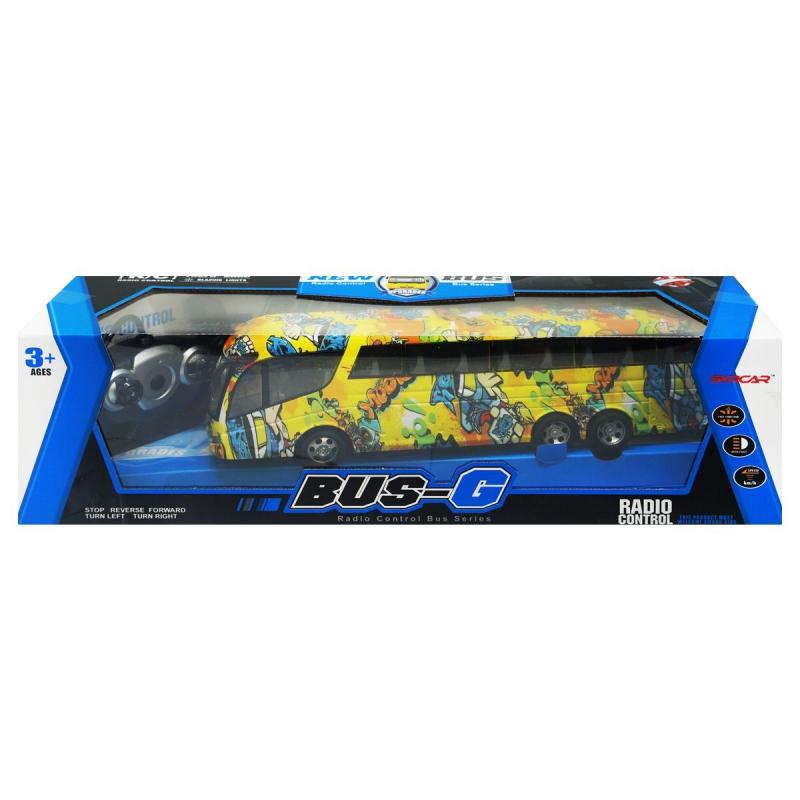 """Автобус """"Bus-G"""" на радиоуправлении с граффити (желтый) 666-694TA купить в магазине """"Пустун"""""""