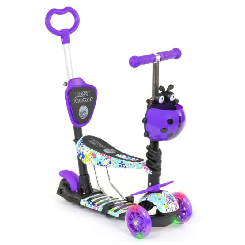"""Самокат с ручкой  """"Best Scooter"""" (фиолетовый) 68995 купить в магазине """"Пустун"""""""