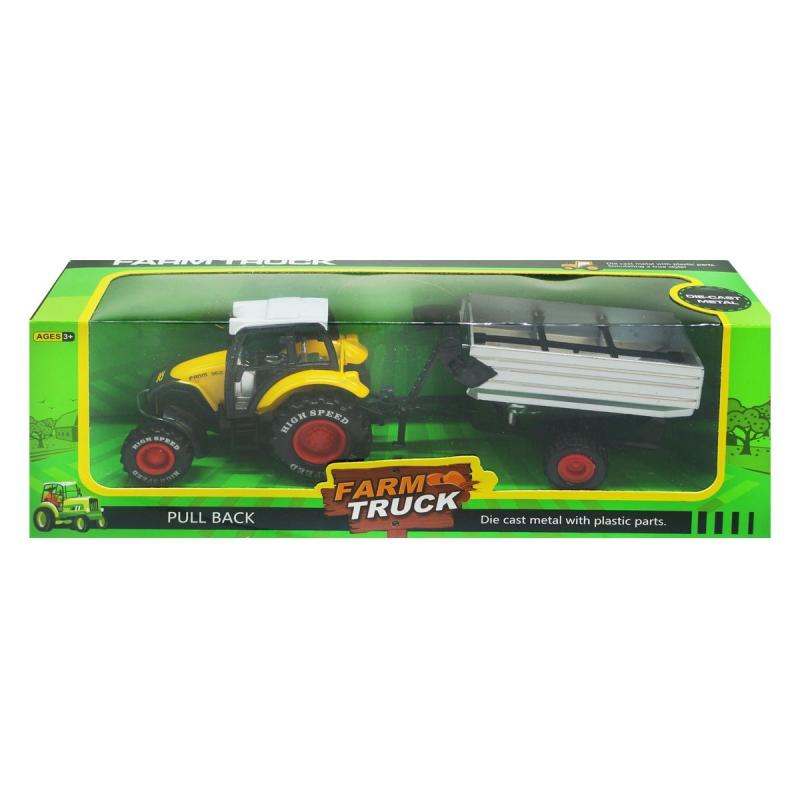 """Трактор Farm Truck с накопительным прицепом желтый купить в магазине """"Пустун"""""""
