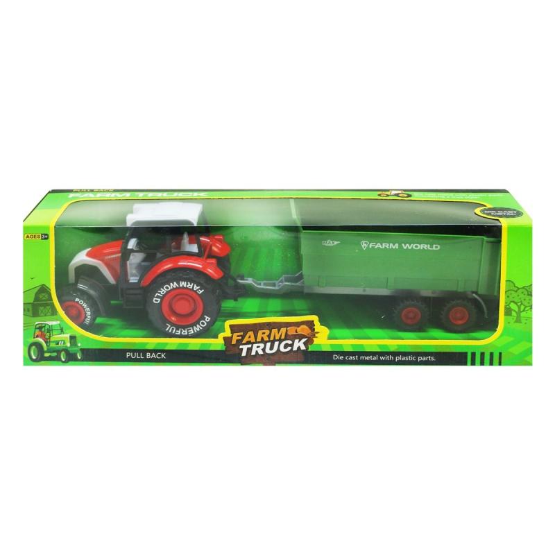 """Трактор Farm Truck с прицепом красный купить в магазине """"Пустун"""""""