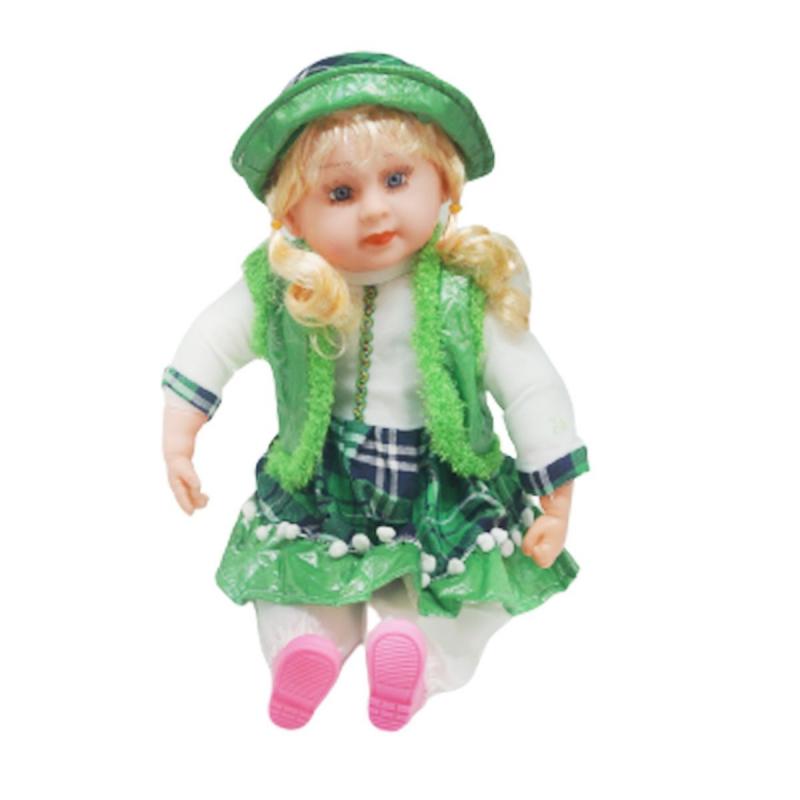 """Мягкая кукла в платье и шляпке (зеленый) купить в магазине """"Пустун"""""""
