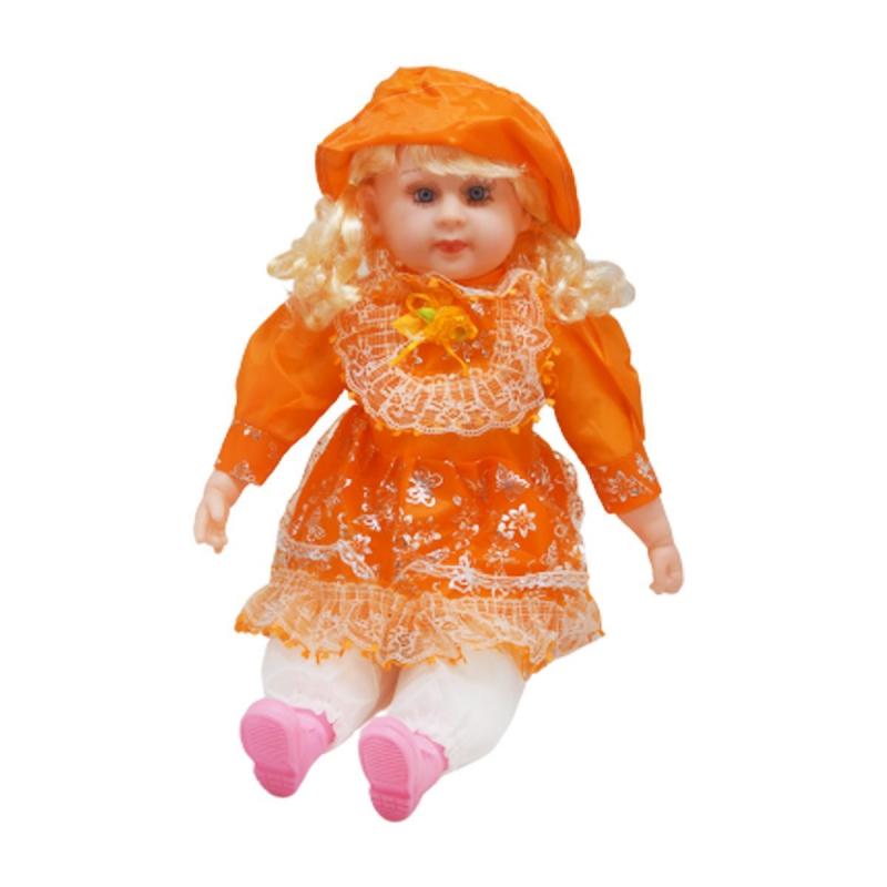 """Мягкая кукла в платье и шляпке (оранжевый) купить в магазине """"Пустун"""""""