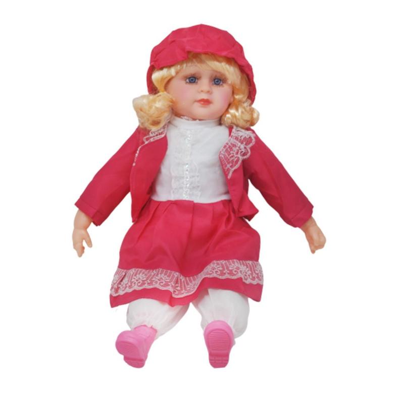 """Мягкая кукла в платье и шляпке (малиновый) купить в магазине """"Пустун"""""""
