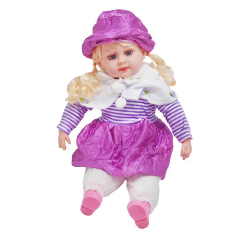 """Мягкая кукла в платье и шляпке (фиолетовый) купить в магазине """"Пустун"""""""