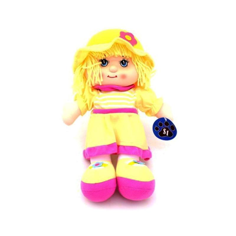 """Кукла мягкая в шапочке музыкальная желтый купить в магазине """"Пустун"""""""