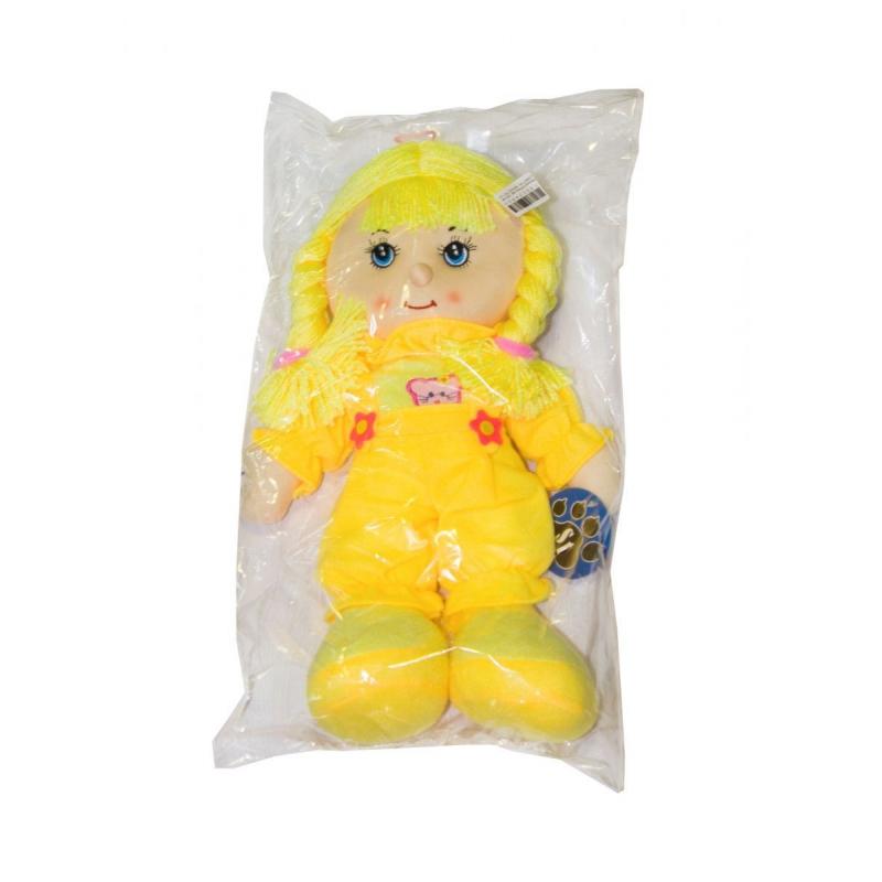"""Мягкая музыкальная кукла желтый комбинезон купить в магазине """"Пустун"""""""