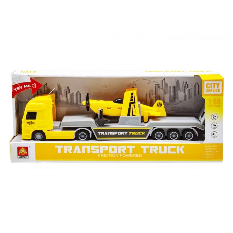 """Трейлер с самолетиком Transport truck (желтый) купить в магазине """"Пустун"""""""