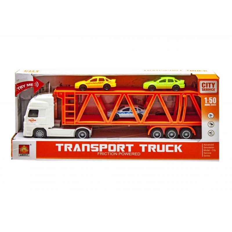 """Трейлер с машинками Transport truck (белый) купить в магазине """"Пустун"""""""
