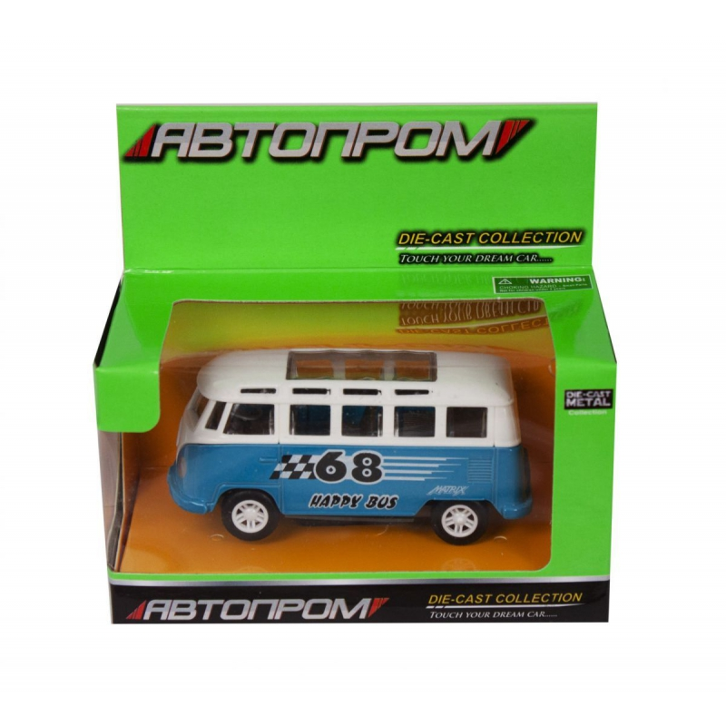 """Машинка Volkswagend Bus из серии Автопром (бирюзовая) купить в магазине """"Пустун"""""""